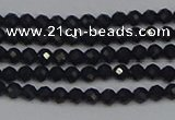 CTG643 15.5 inches 2mm faceted round black tourmaline beads
