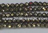 CTG646 15.5 inches 3mm faceted round golden pyrite beads