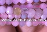 CTG712 15.5 inches 4mm faceted round tiny morganite beads
