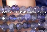 CTG755 15.5 inches 4mm faceted round tiny iolite gemstone beads