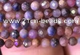 CTG797 15.5 inches 2mm faceted round tiny ruby sapphire beads