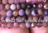 CTG798 15.5 inches 3mm faceted round tiny ruby sapphire beads