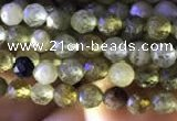 CTG819 15.5 inches 4mm faceted round tiny green garnet beads
