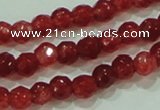CTG85 15.5 inches 3mm faceted round tiny dyed white jade beads wholesale