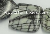 CTJ16 16 inches 35*35mm square black water jasper beads wholesale