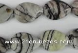 CTJ231 15.5 inches 15*20mm flat teardrop black water jasper beads