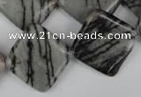 CTJ266 15.5 inches 20*20mm diamond black water jasper beads