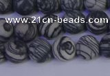 CTJ402 15.5 inches 8mm round matte black water jasper beads