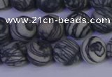 CTJ403 15.5 inches 10mm round matte black water jasper beads