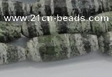 CTR140 15.5 inches 10*30mm faceted teardrop green silver line jasper beads