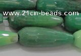CTR144 15.5 inches 10*30mm faceted teardrop grass agate beads