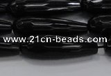CTR145 15.5 inches 10*30mm faceted teardrop black agate beads