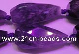 CTR205 15*30mm - 18*45mm faceted teardrop amethyst gemstone beads