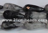 CTR302 15.5 inches 12*25mm faceted teardrop black rutilated quartz beads