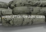 CTR66 15.5 inches 10*40mm faceted teardrop grey picture jasper beads