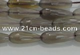 CTR79 15.5 inches 6*16mm faceted teardrop grey agate beads