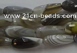 CTR87 15.5 inches 6*16mm faceted teardrop grey botswana agate beads