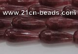 CTR92 15.5 inches 8*20mm faceted teardrop strawberry quartz beads