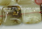CTS53 15.5 inches 25*25mm square tigerskin glass beads wholesale