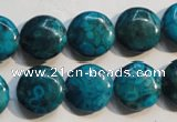 CTU2418 15.5 inches 14mm flat round synthetic turquoise beads