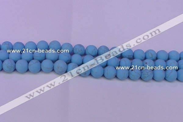 CTU2852 15.5 inches 8mm round matte turquoise beads