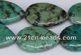 CTU454 15.5 inches 22*30mm flat teardrop African turquoise beads