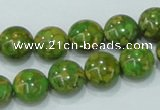CTU612 15.5 inches 12mm flat round synthetic turquoise beads wholesale