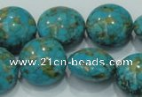 CTU616 15.5 inches 20mm flat round synthetic turquoise beads wholesale