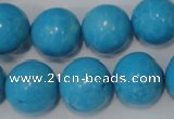 CTU826 15.5 inches 16mm round dyed turquoise beads wholesale