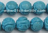 CTU883 15.5 inches 15mm carved round dyed turquoise beads