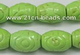 CTU891 15.5 inches 14*20mm carved rice dyed turquoise beads