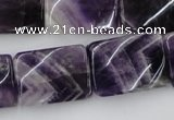 CTW392 15.5 inches 18*25mm twisted rectangle dogtooth amethyst beads