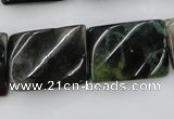 CTW395 15.5 inches 18*25mm twisted rectangle moss agate beads