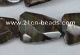 CTW416 15.5 inches 22*30mm faceted & twisted Chinese bamoo stone beads
