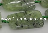 CTW454 20*38mm faceted & twisted rectangle green rutilated quartz beads