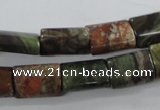CUG158 15.5 inches 10*15mm flat tube australian unakite beads