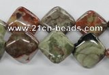 CUG159 15.5 inches 14*14mm diamond australian unakite beads