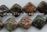 CUG165 15.5 inches 12*12mm diamond australian unakite beads