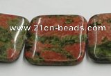 CUG51 16 inches 30*30mm square natural unakite gemstone beads wholesale