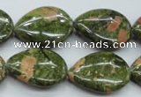 CUG70 15.5 inches 18*25mm flat teardrop unakite gemstone beads