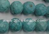 CWB425 15.5 inches 14mm faceted round howlite turquoise beads