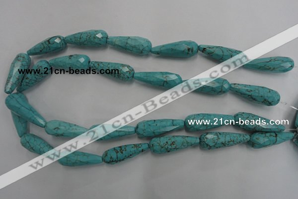 CWB472 15.5 inches 10*30mm faceted teardrop howlite turquoise beads