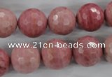 CWF06 15.5 inches 16mm faceted round pink wooden fossil jasper beads