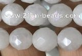 CWH66 15.5 inches 8mm faceted round AB-color white jade beads