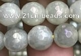 CWH71 15.5 inches 8mm faceted round AB-color white jade beads