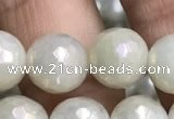CWH72 15.5 inches 10mm faceted round AB-color white jade beads