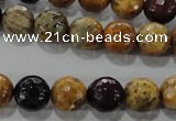 CWJ304 15.5 inches 10mm faceted round wood jasper gemstone beads
