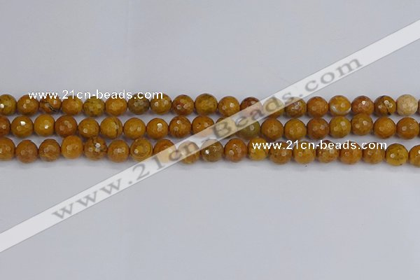 CWJ469 15.5 inches 6mm faceted round yellow petrified wood jasper beads