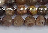 CWJ477 15.5 inches 8mm faceted round wood jasper gemstone beads