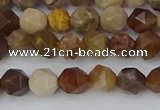 CWJ483 15.5 inches 6mm faceted nuggets wood jasper beads